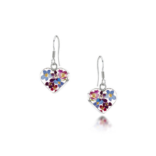 Purple haze silver drop earrings, heart shape