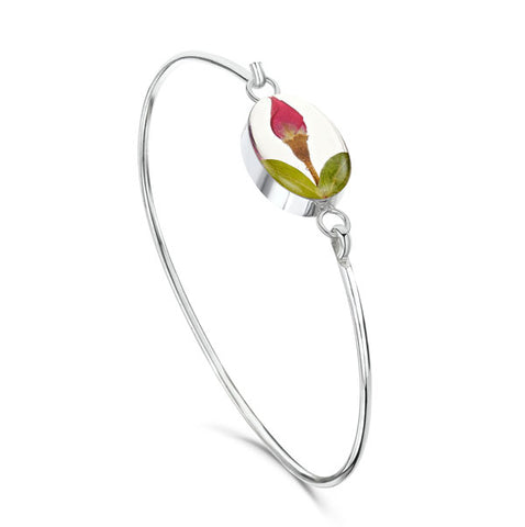 Silver Bangle - Rose bud - Oval