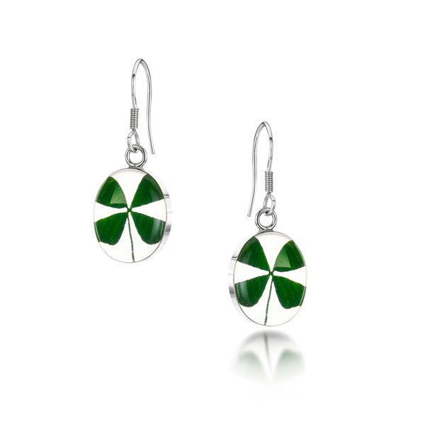 Silver Earring - Four Leaf Clover - Oval