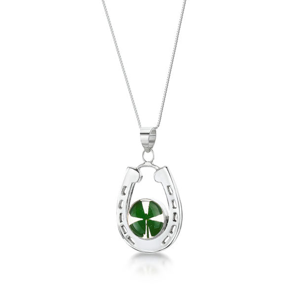 Silver Necklace -Four leaf clover - Horseshoe