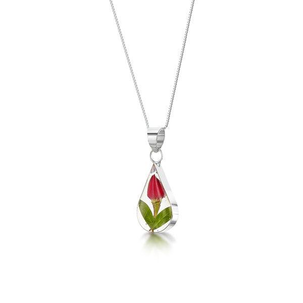 Silver Necklace - Rose bud - Teardrop