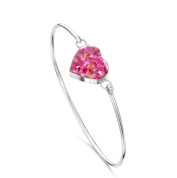 Silver Bangle - Heather - Heart
