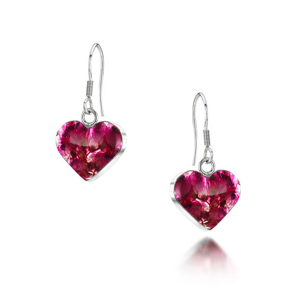 Silver drop Earrings - Heather - Sm heart