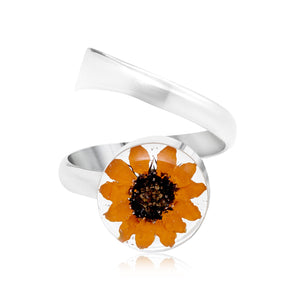 Silver Adjustable Ring - Sunflower - Round