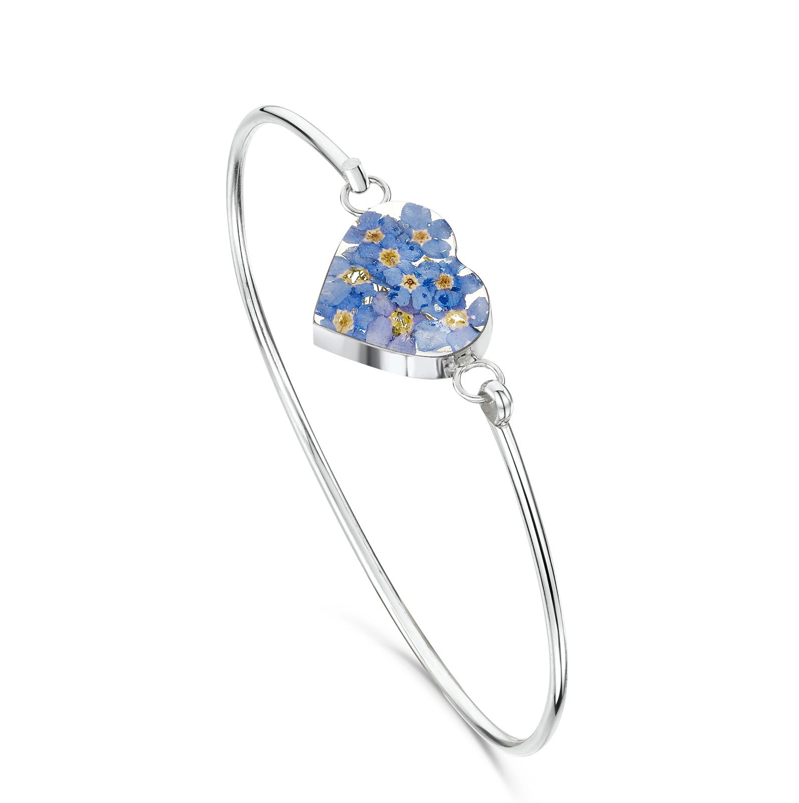Silver Bangle- Forget Me Not -  Heart bangle