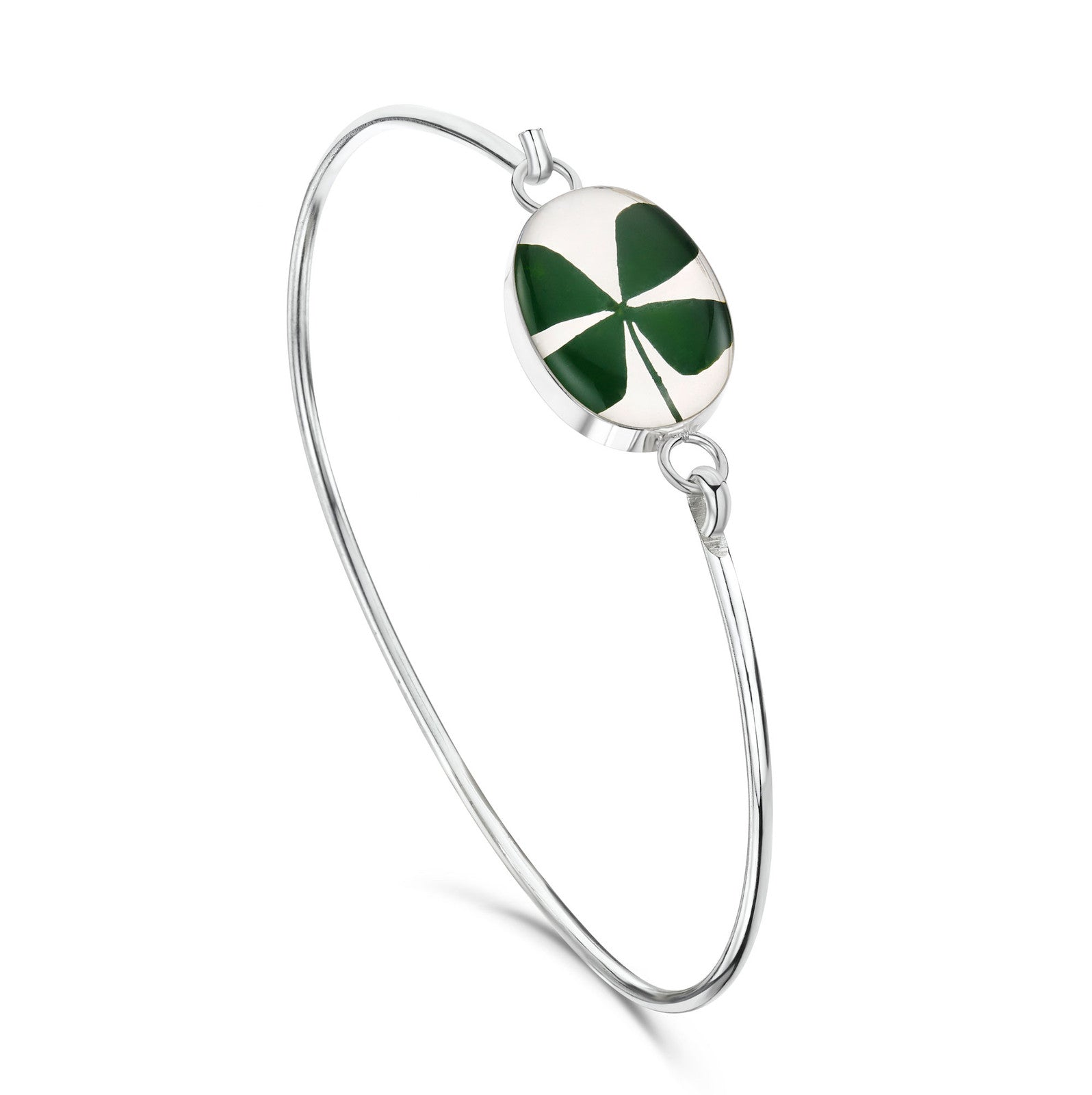Silver Bangle - Four Leaf Clover - Oval