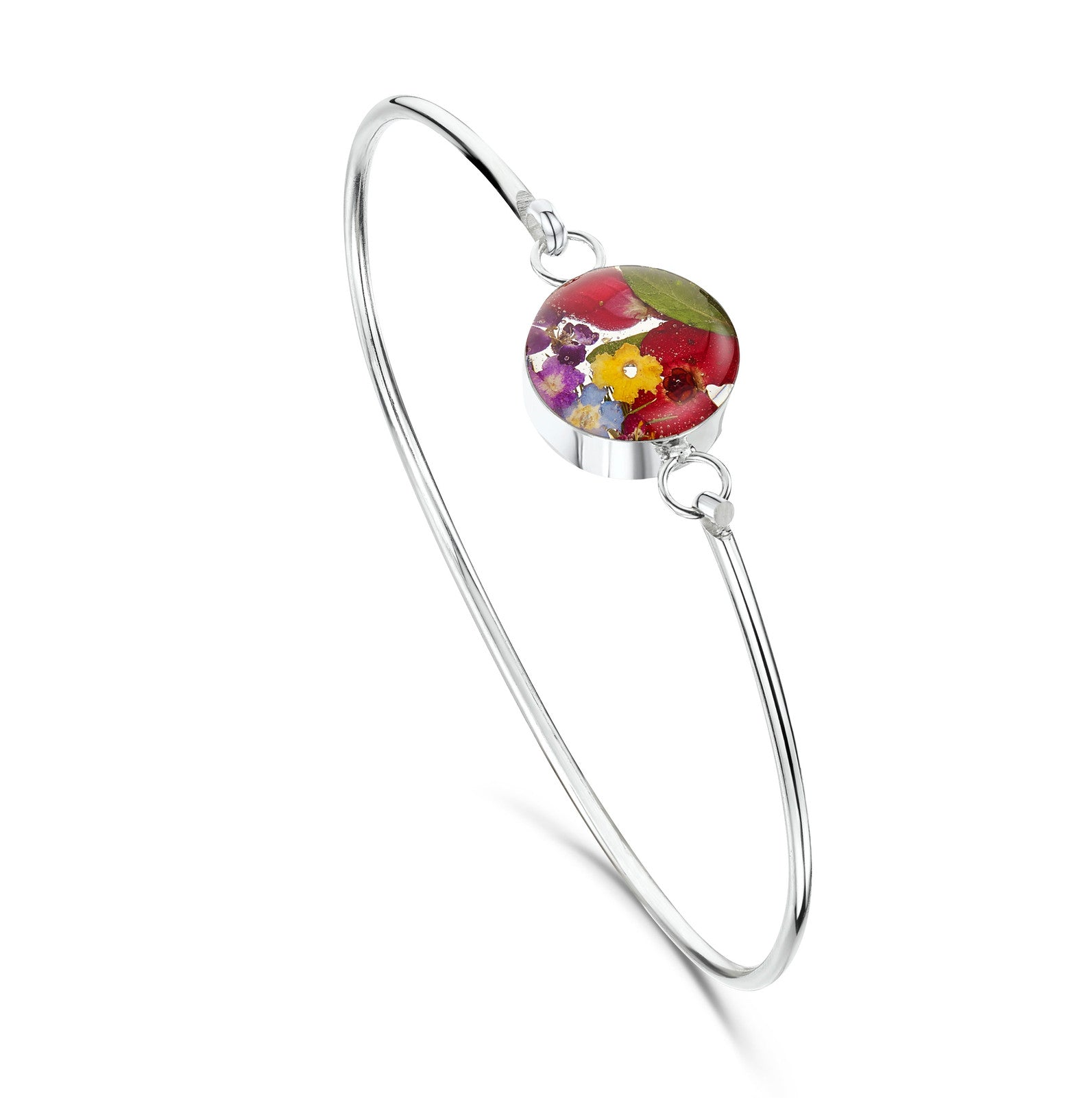 Silver Bangle - Mixed flowers - Round