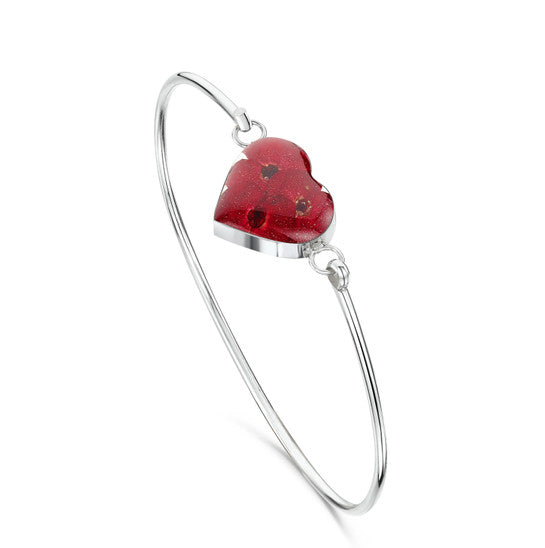 Silver Bangle - Poppy - Heart
