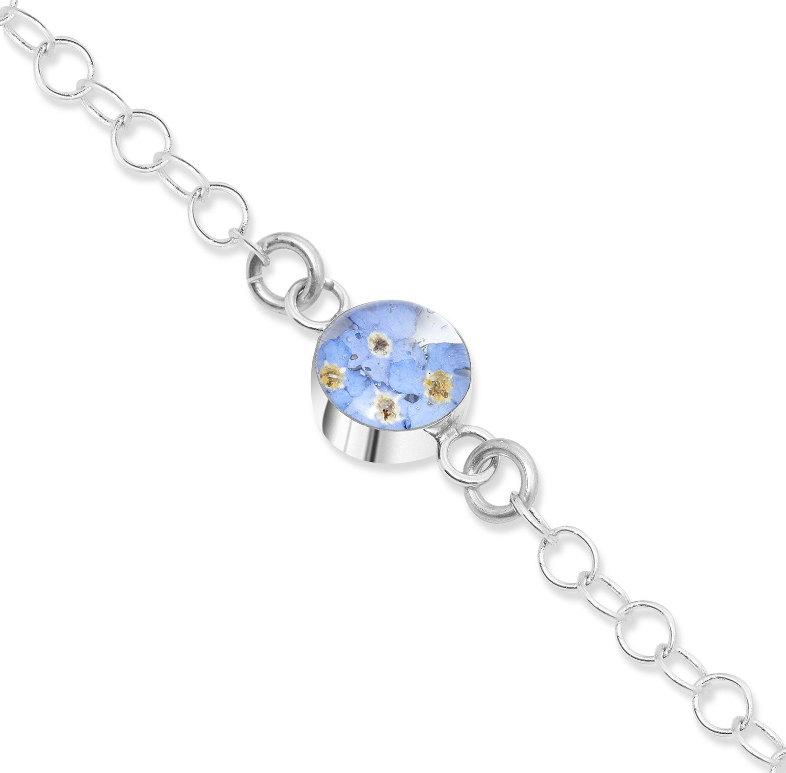 Silver Chain Bracelet - Forget-Me-Not - Round - Round link chain