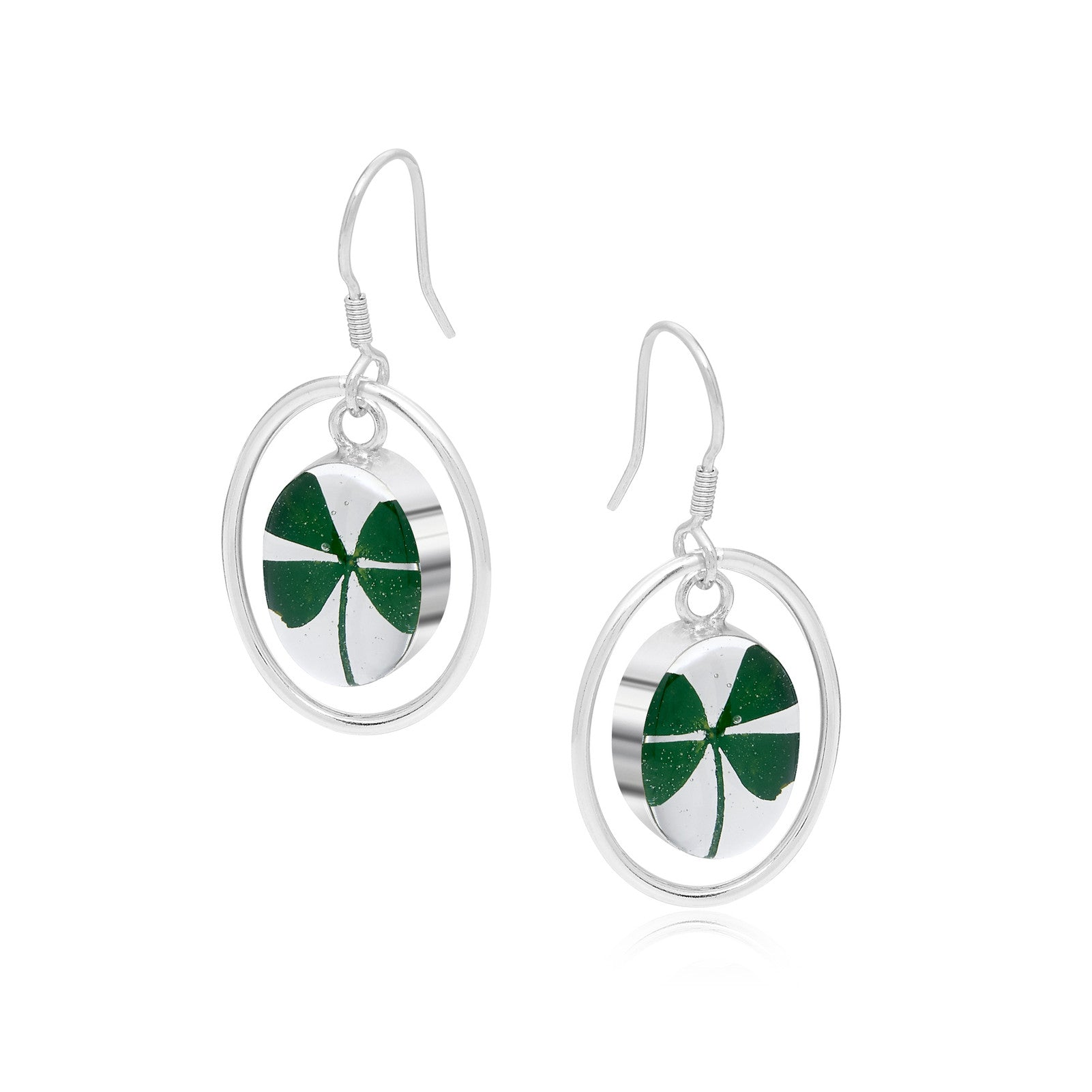 Silver Earrings - Clover - with Silver Oval Surround