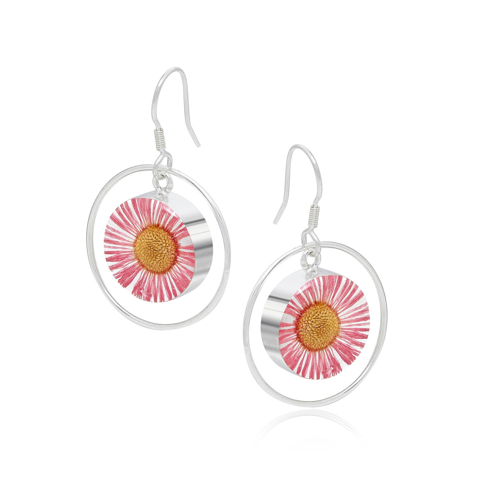 Silver Earrings - Daisy Pink - with Silver Round Surround