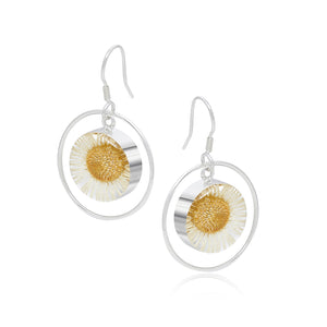 Silver Earrings - Daisy White - with Silver Round Surround