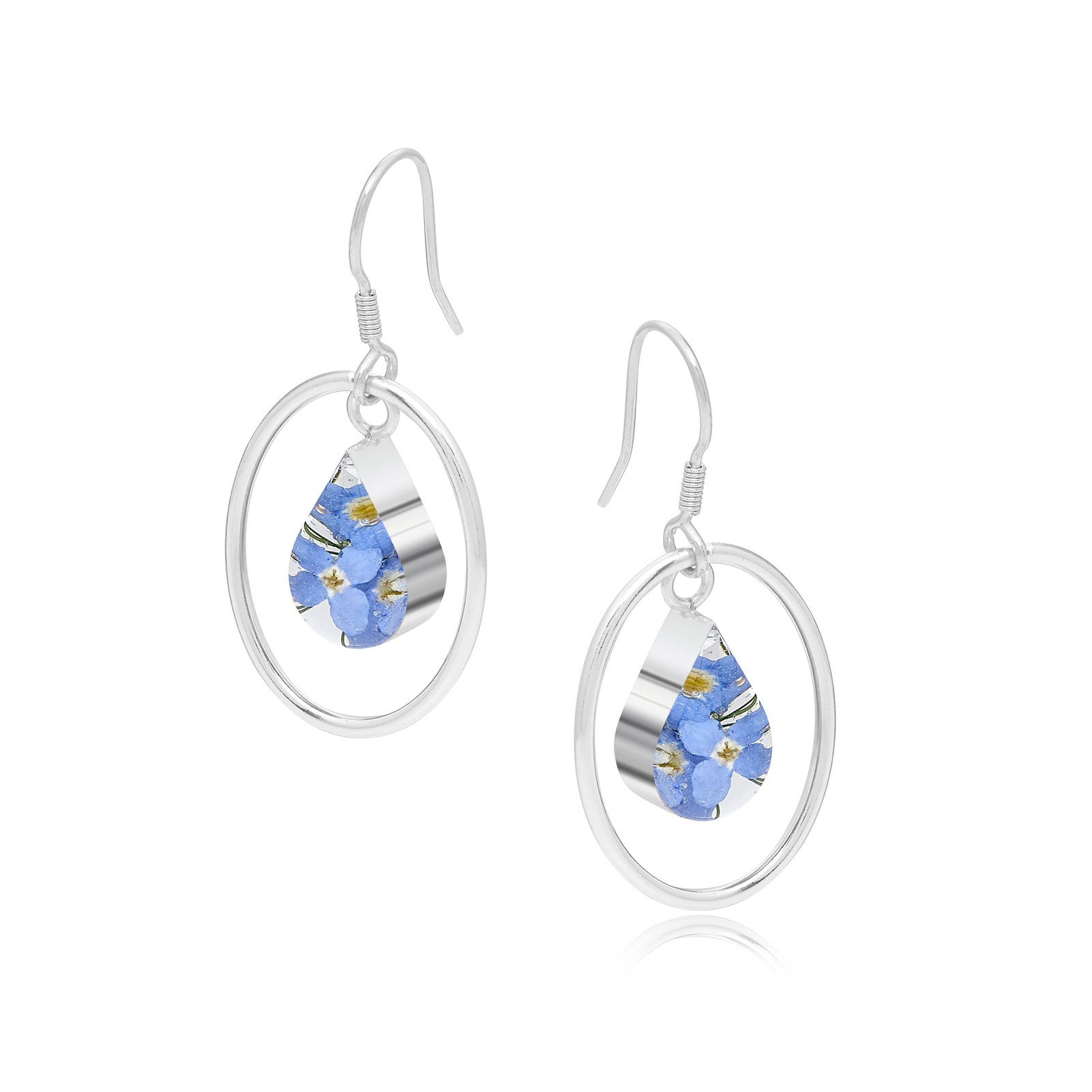 Silver Earrings - Forget-Me-Not -with Silver Oval Surround