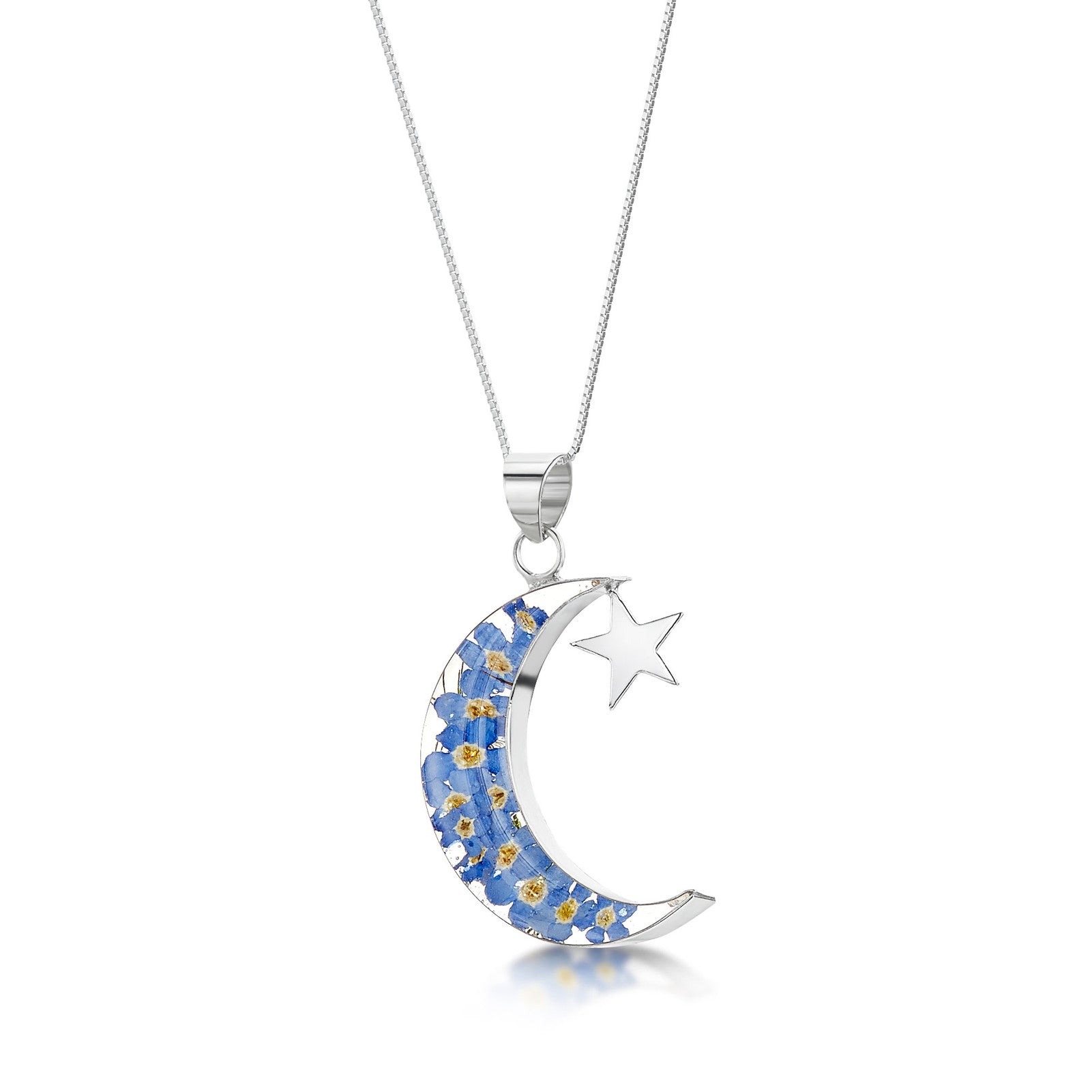 Silver Necklace - Forget me not - Moon and Star
