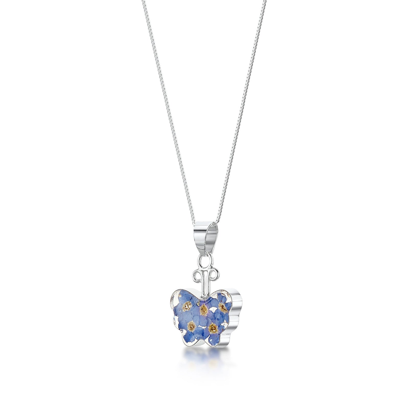 Silver Necklace - Forget-me-not - Small Butterfly