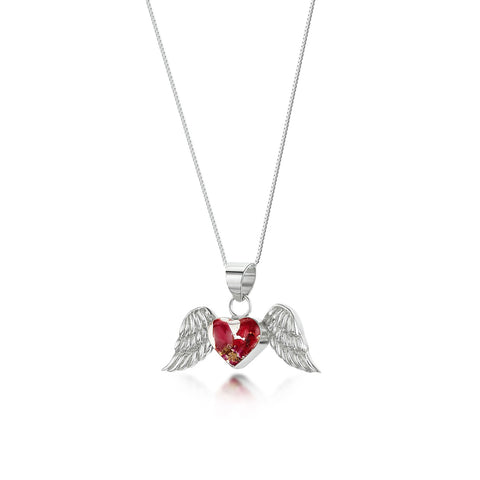 Silver Necklace- Bohemia Poppy/Rose - Angel Wings