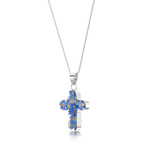 Silver Necklace - Forget-me-not - Med Cross