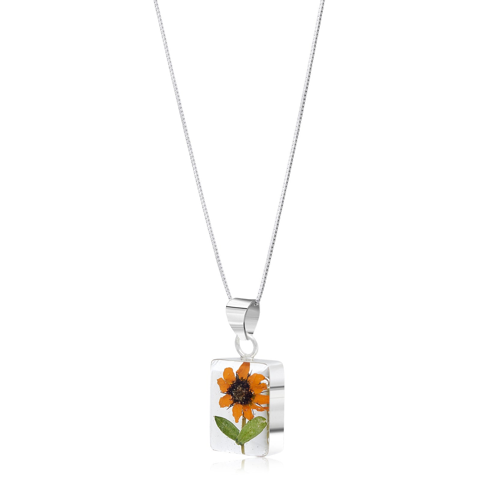 Silver Pendant - Sunflower - Rectangle