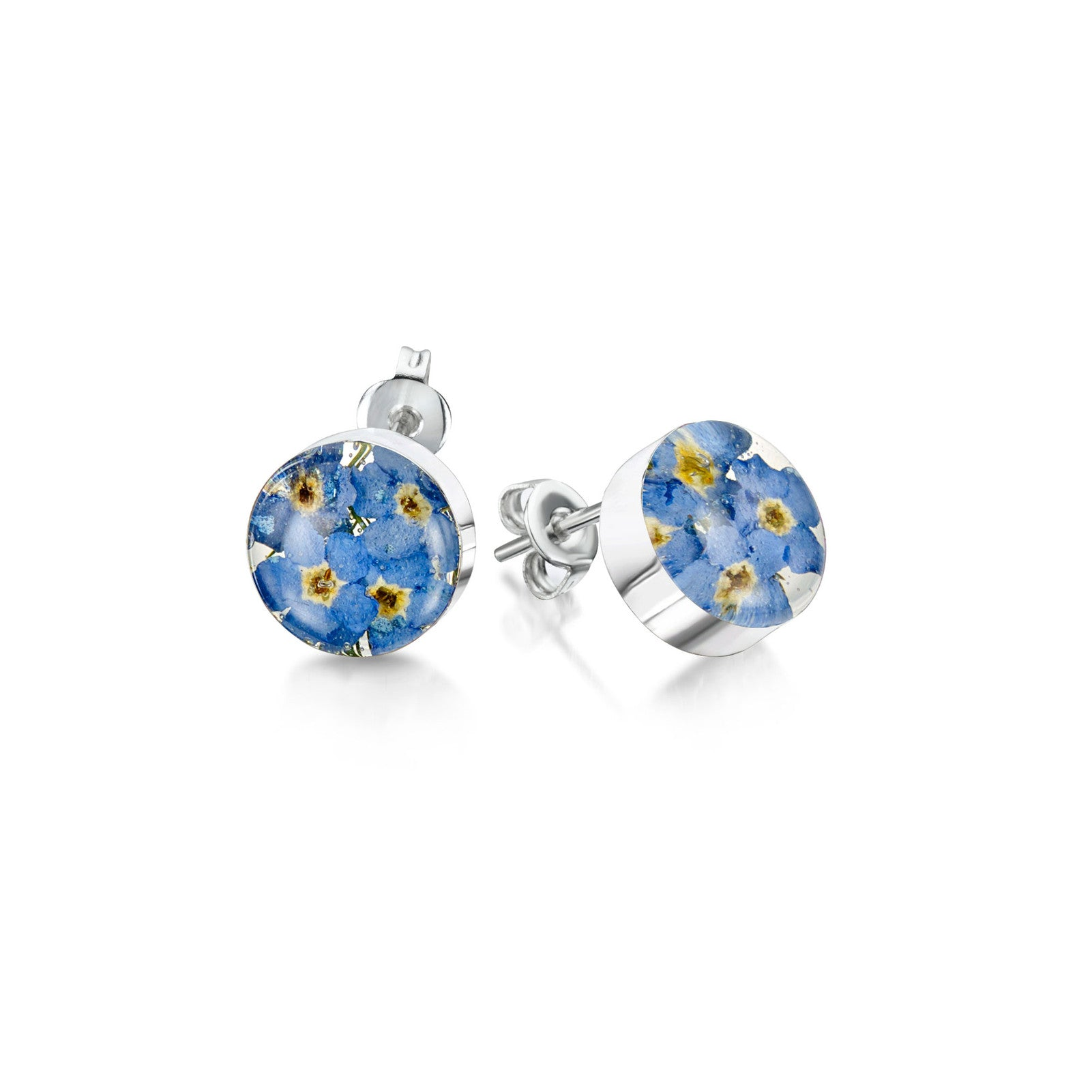 Silver stud earrings forget me not