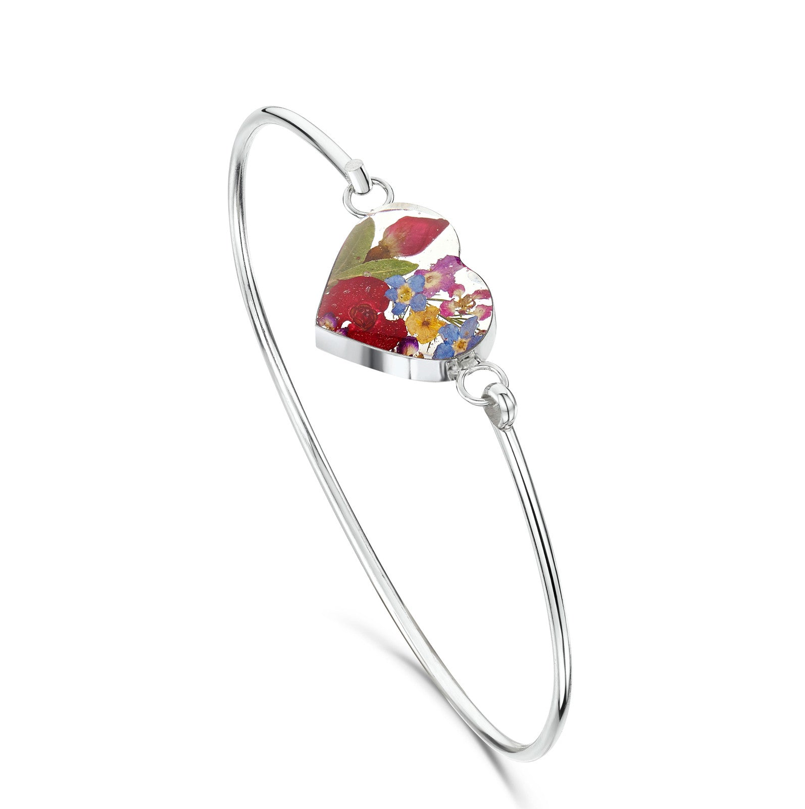 Silver Bangle - Mixed flowers - Heart