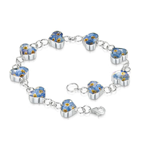 Silver bracelet - forget me not - heart