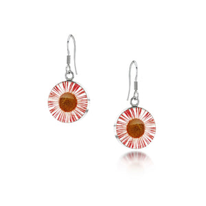 Silver drop Earrings - Daisy Pink-Round
