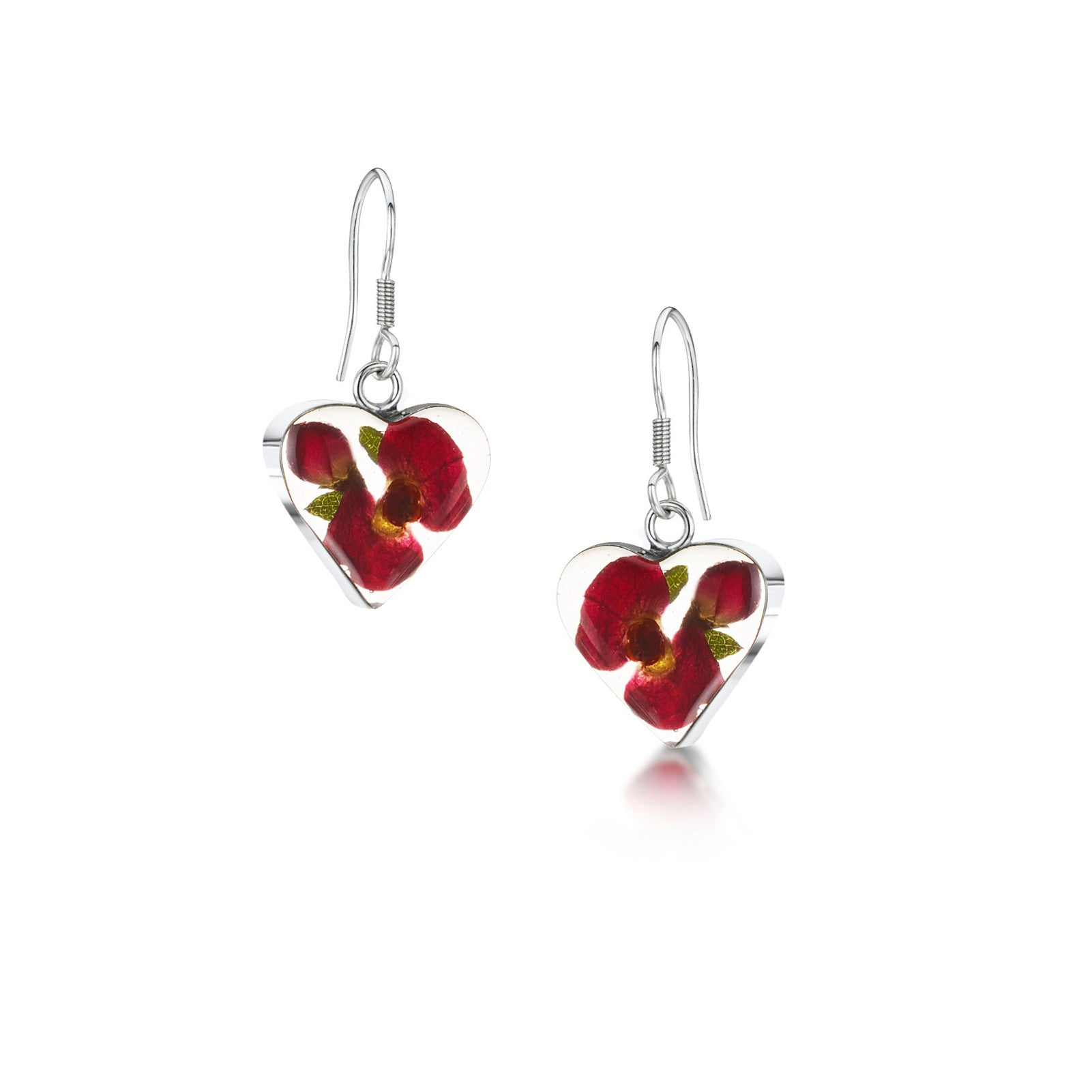 Silver Drop Earrings - Poppy/Rose - Heart