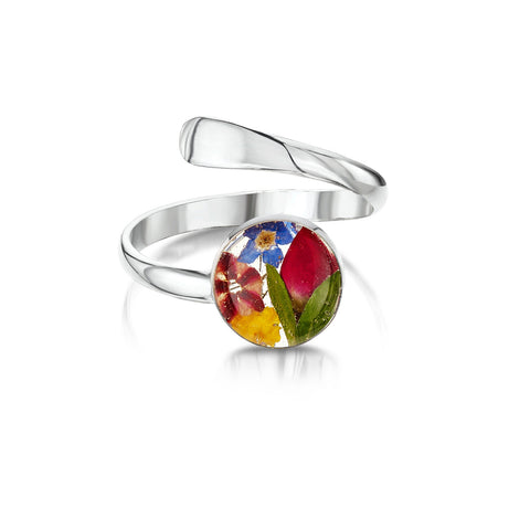 Silver Ring (Adjustable) - Mixed Flowers - Round