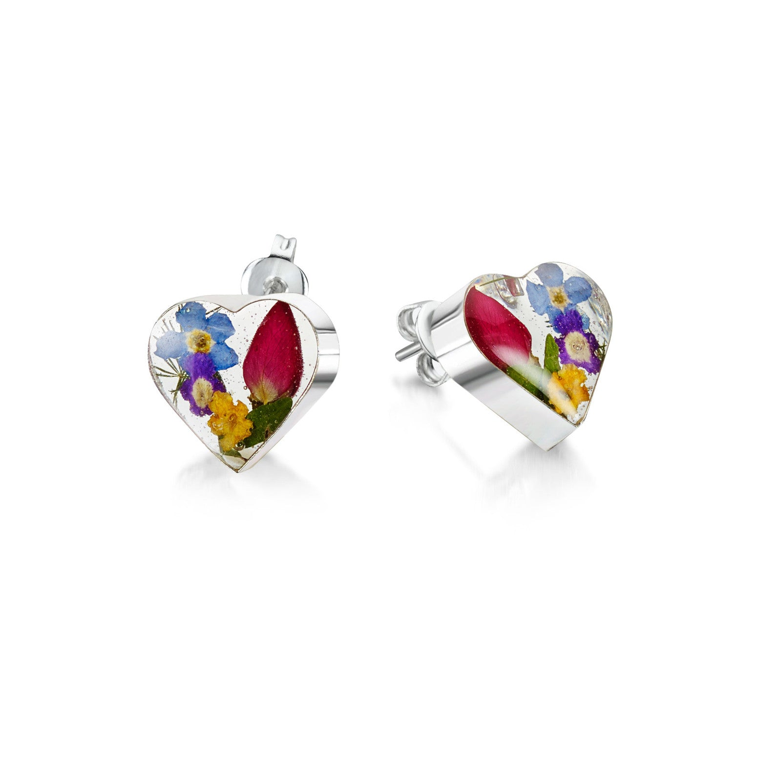 Silver stud Earrings - Mixed flowers + yellow - Small heart