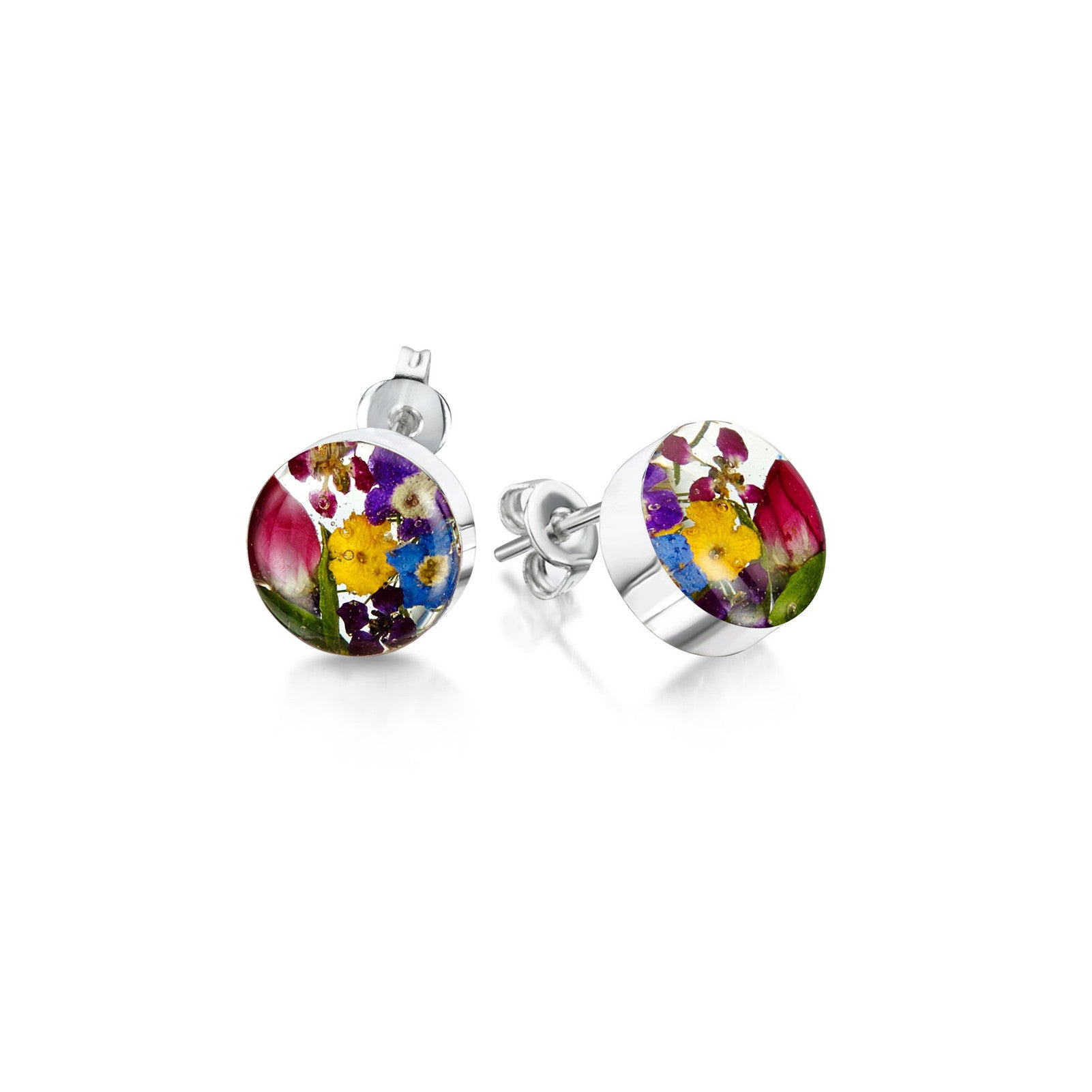 Silver stud Earrings - Mixed flowers + yellow - Small round