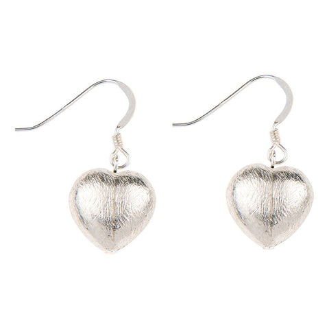 Brushed Silver Hearts Earrings
