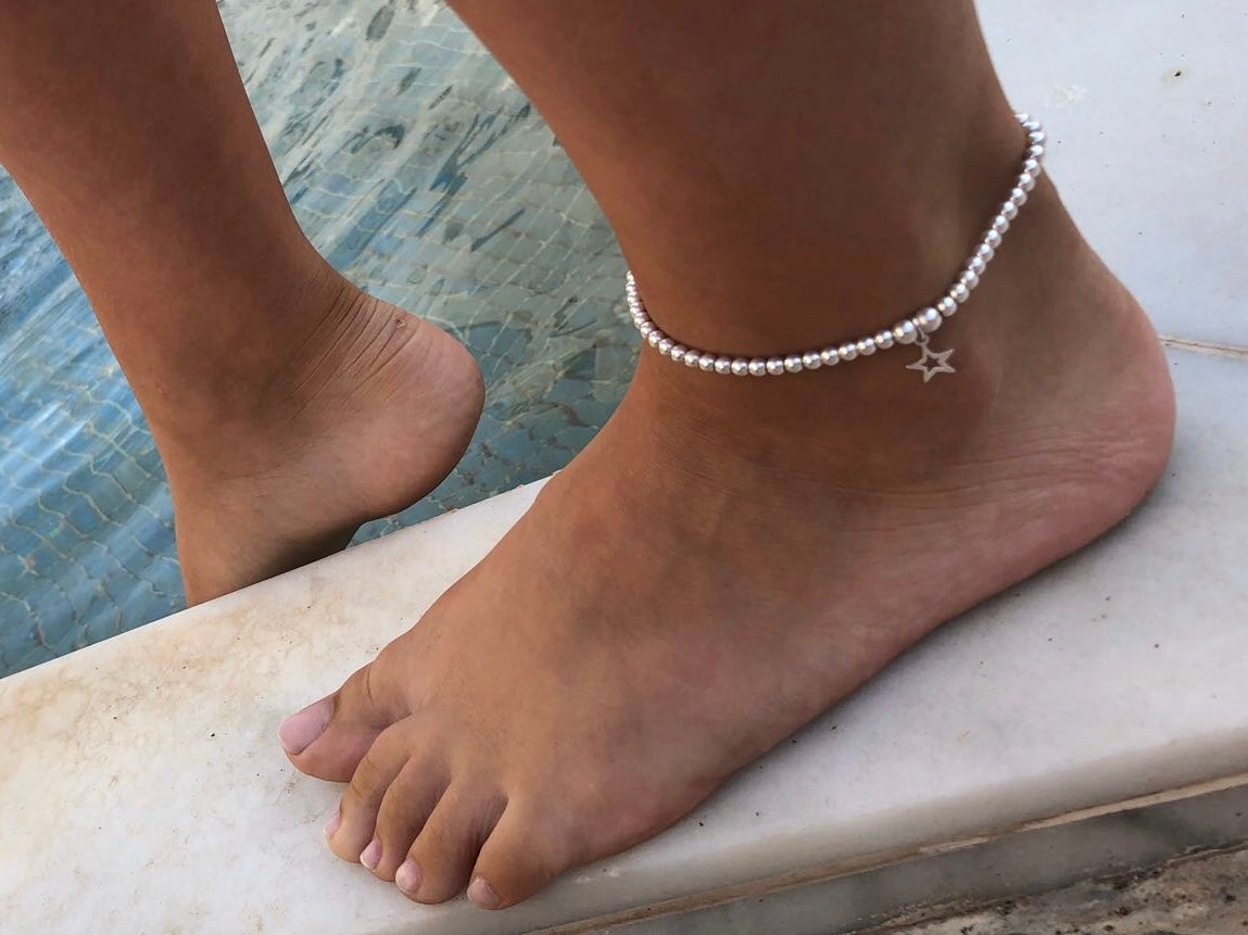 Open star sterling silver ankle bracelet