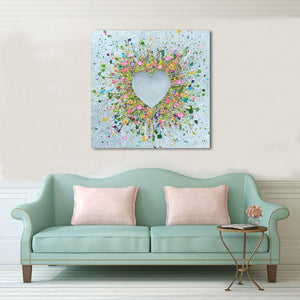 "HAND EMBELLISHED CANVAS PRINT - ""You Make Me Happy"""