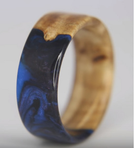 Galaxy Resin Ring Made with Junk Wood (Maple Burl)