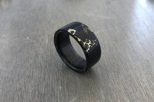 Gold Veined Trustone Ring with Carbon Fiber Liner