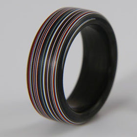 Fordite Ring with Carbon Fiber Liner
