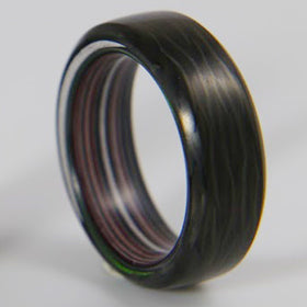 Carbon Fiber Ring with Fordite Liner