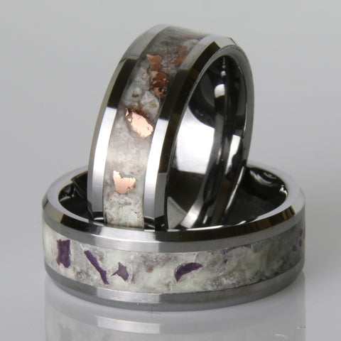 copper and amethyst tungsten wedding rings