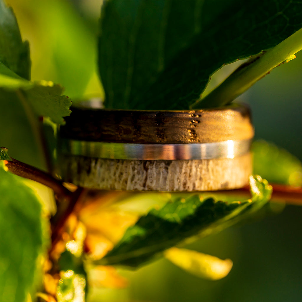 Whiskey Barrel Oak and Deer Antler Ring