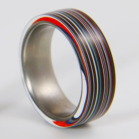 Fordite Ring with Titanium Liner