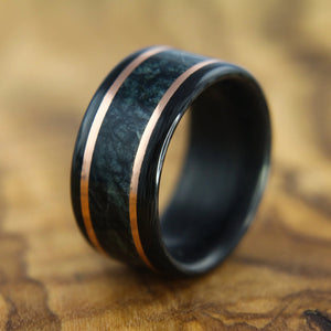 Carbon Fiber, Marble, and Copper Ring