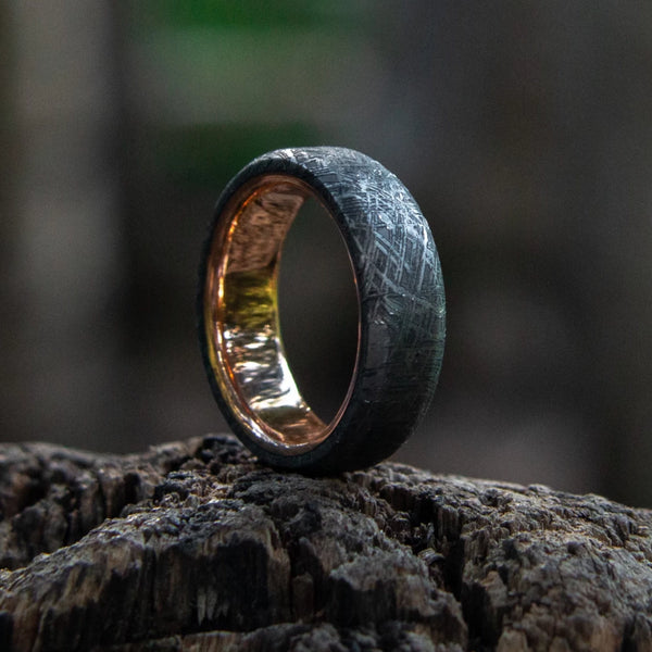 Meteorite Ring with Real Gold Liner