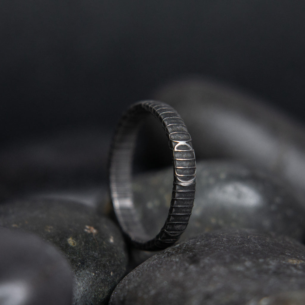 Spirograph Damascus Steel Stackable Ring - 3 mm