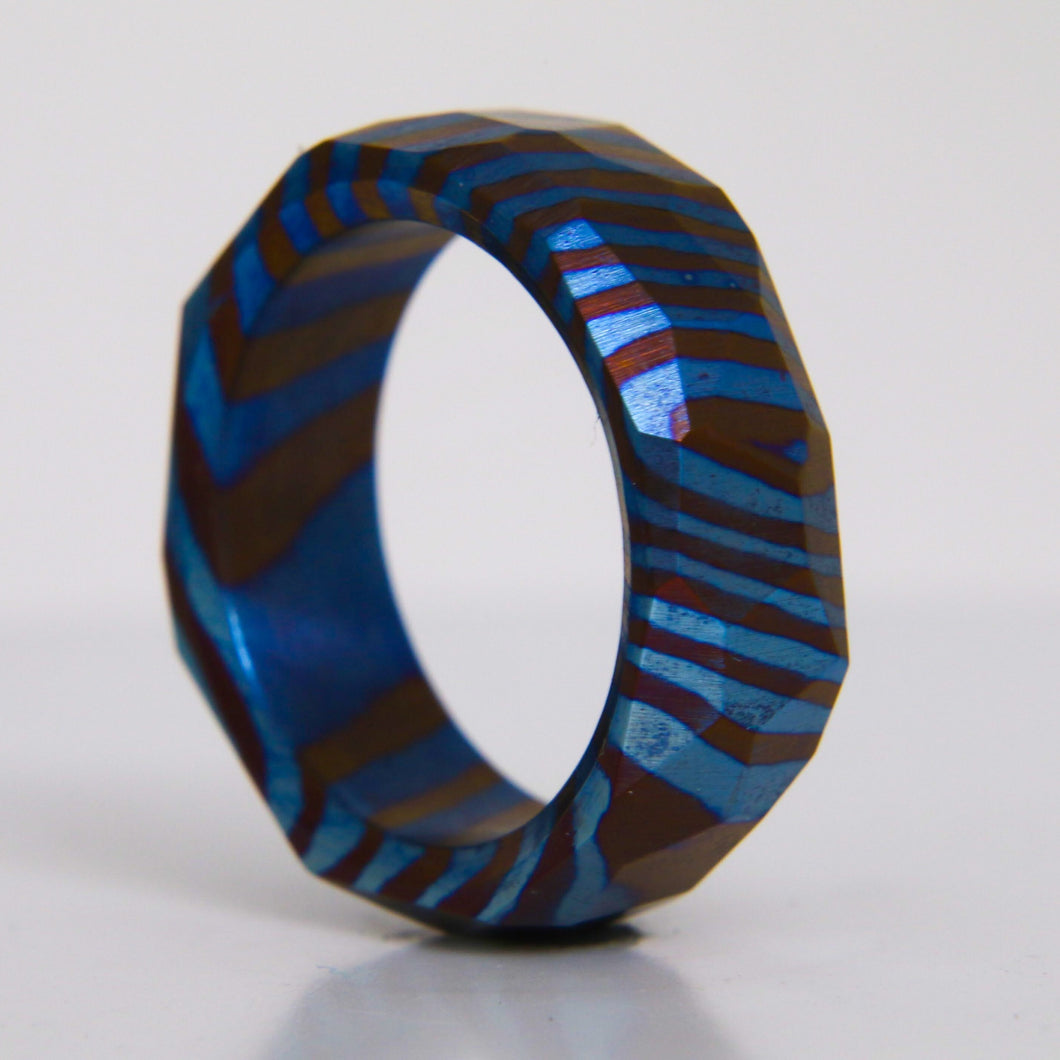 Obsidian Faceted Timascus Ring