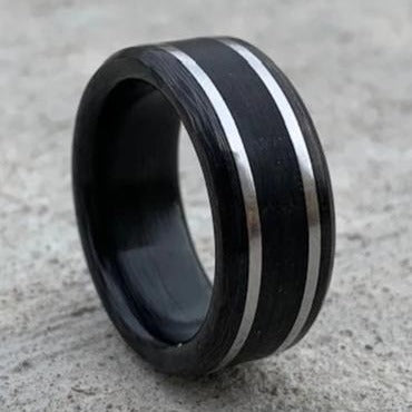 Carbon Fiber, Stainless Steel, and Bogwood Ring