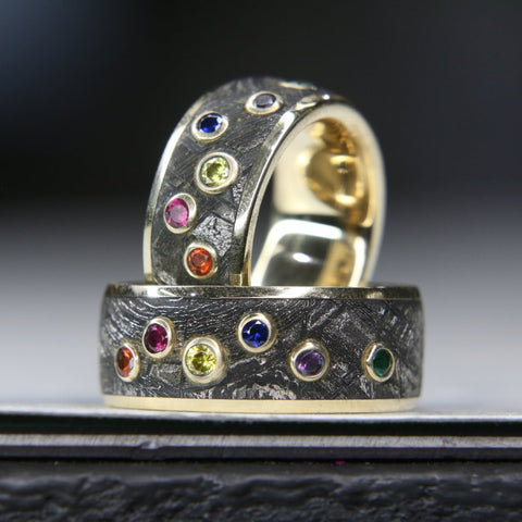 The Infinity Ring: Meteorite Ring with a Gold Liner