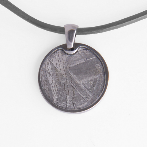 Meteorite Necklace with a circular meteorite pendant