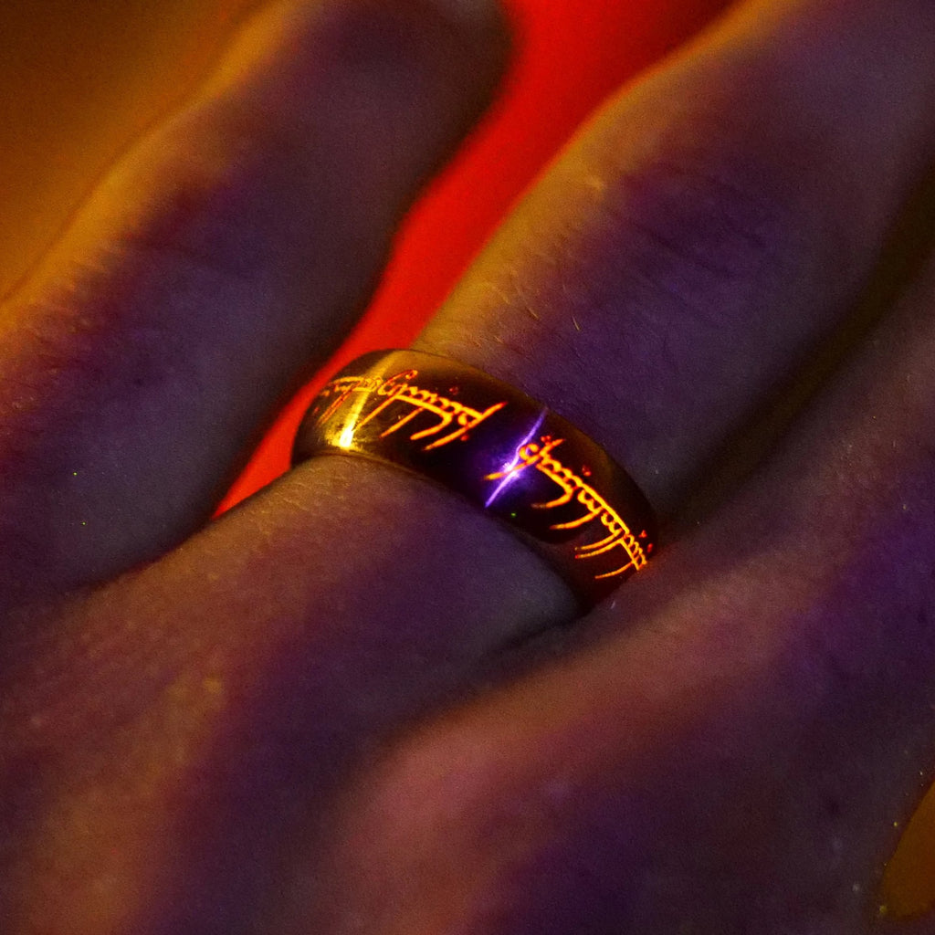 14K Gold Ring with Glowing Engraving Script