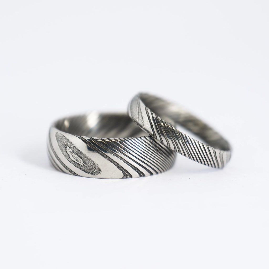 Matching Damascus Steel Wedding Band Set