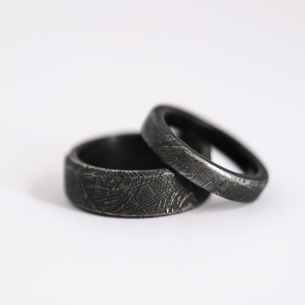 Authentic Meteorite Wedding Ring Set